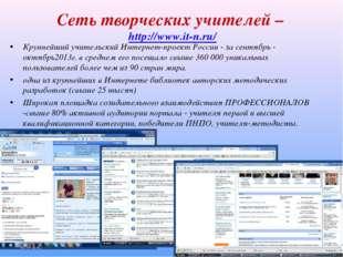 Сеть творческих учителей – http://www.it-n.ru/ Крупнейший учительский Интерне