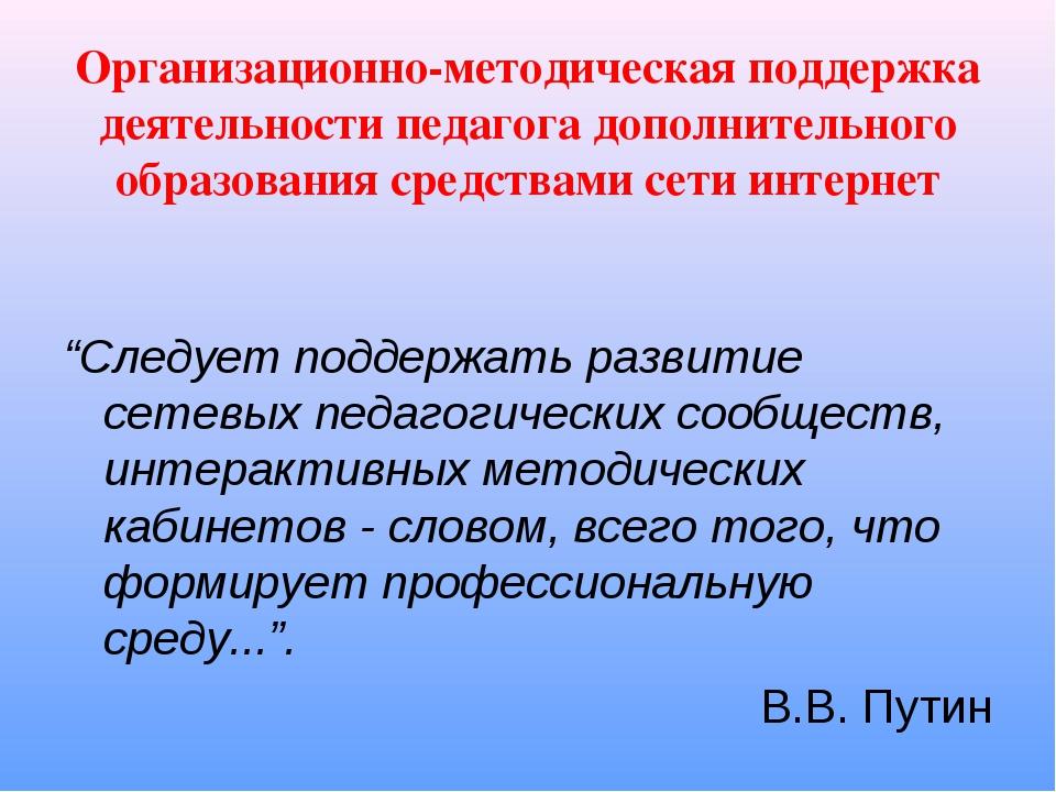 Организационно-методическая поддержка деятельности педагога дополнительного о...
