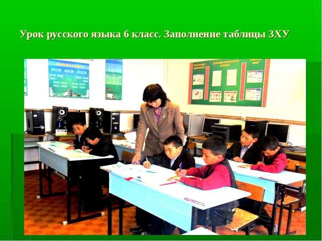 Урок русского языка 6 класс. Заполнение таблицы ЗХУ