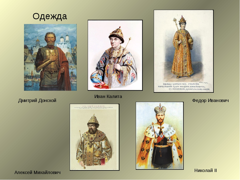 Одежда Иван Калита Алексей Михайлович Дмитрий Донской Николай II Федор Иванович