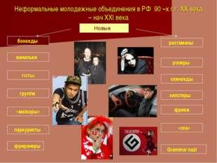 Неформальные молодежные объединения в РФ 90 –х г.г. XX века – нач XXI века Но
