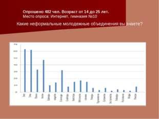 Опрошено 482 чел. Возраст от 14 до 25 лет. Место опроса: Интернет, гимназия №
