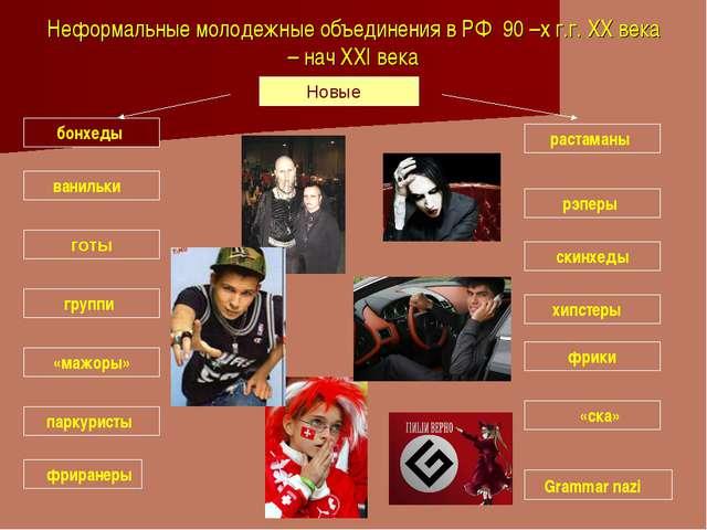 Неформальные молодежные объединения в РФ 90 –х г.г. XX века – нач XXI века Но...