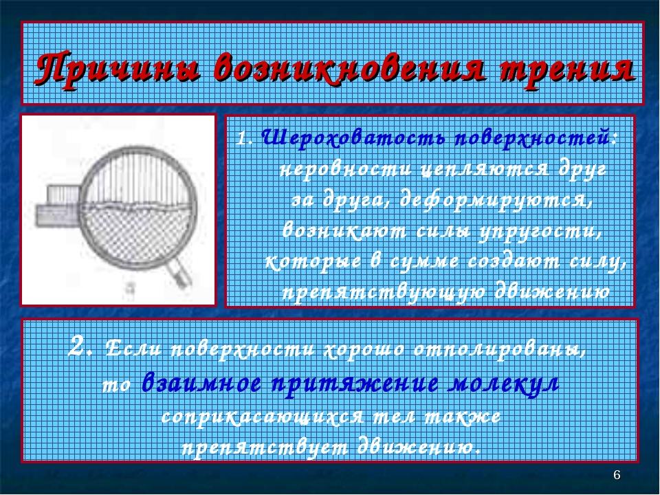 * Причины возникновения трения 1. Шероховатость поверхностей: неровности цепл...