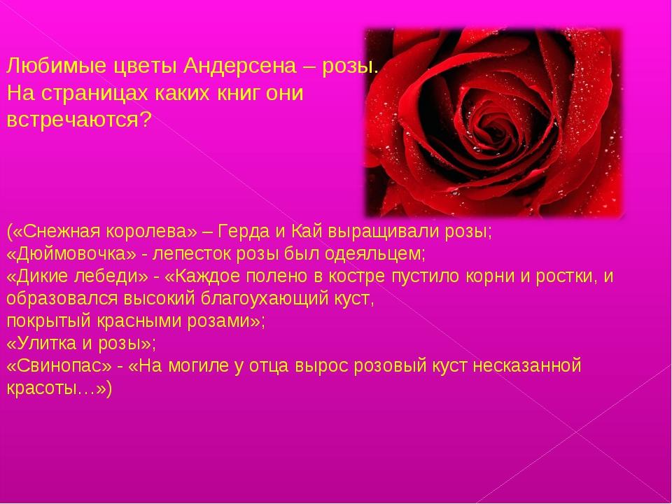 Любимые цветы Андерсена – розы. На страницах каких книг они встречаются? («Сн...