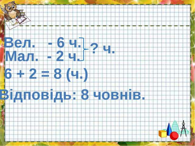 Вел. - 6 ч. Мал. - 2 ч. ? ч. 6 + 2 = 8 (ч.) Відповідь: 8 човнів.