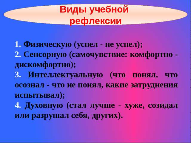 Виды учебной рефлексии 1. Физическую (успел - не успел); 2. Сенсорную (самочу...