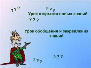 Урок открытия новых знаний Урок обобщения и закрепления знаний ? ? ? ? ? ? ?