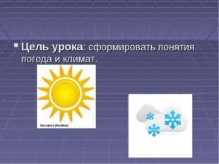 Цель урока: сформировать понятия погода и климат.