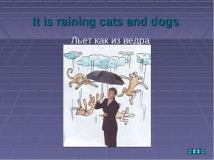 It is raining cats and dogs Льет как из ведра