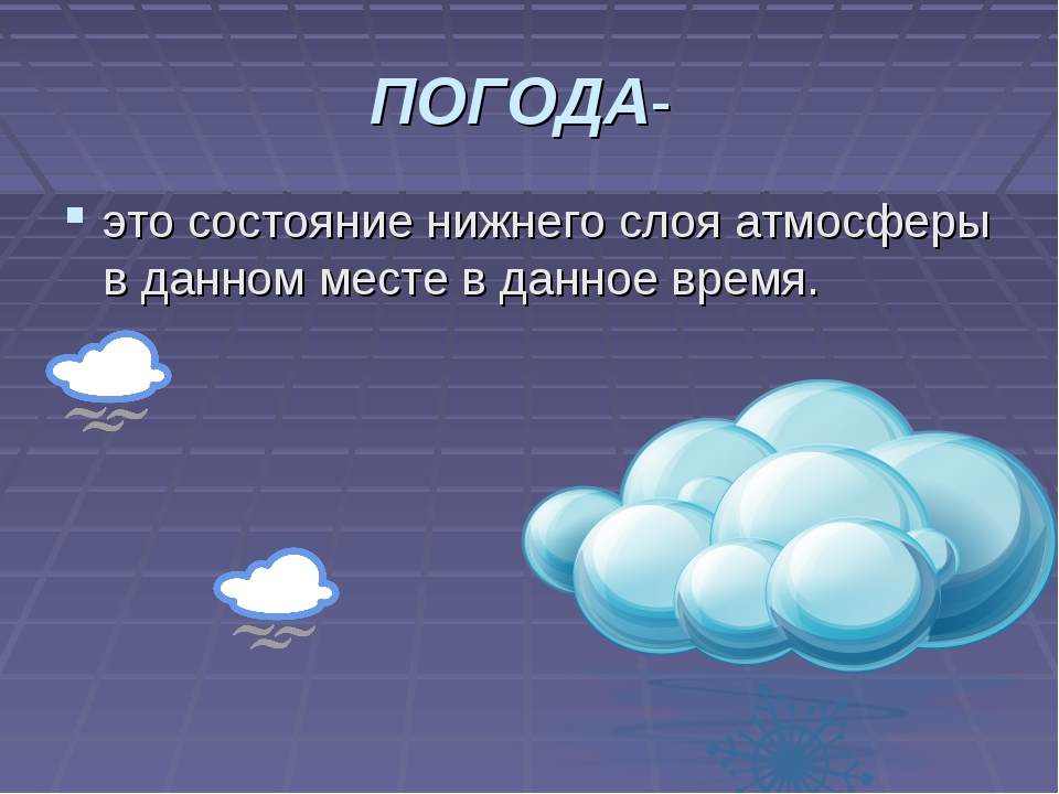 ПОГОДА- это состояние нижнего слоя атмосферы в данном месте в данное время.