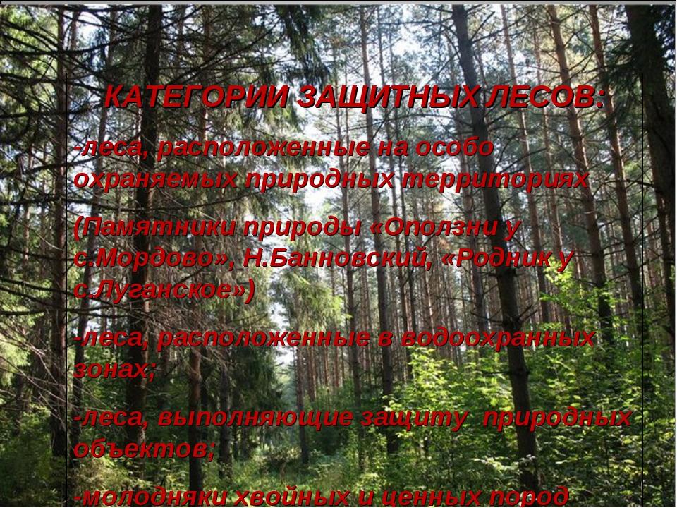 КАТЕГОРИИ ЗАЩИТНЫХ ЛЕСОВ: -леса, расположенные на особо охраняемых природных...