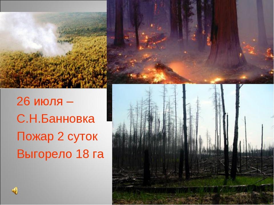26 июля – С.Н.Банновка Пожар 2 суток Выгорело 18 га