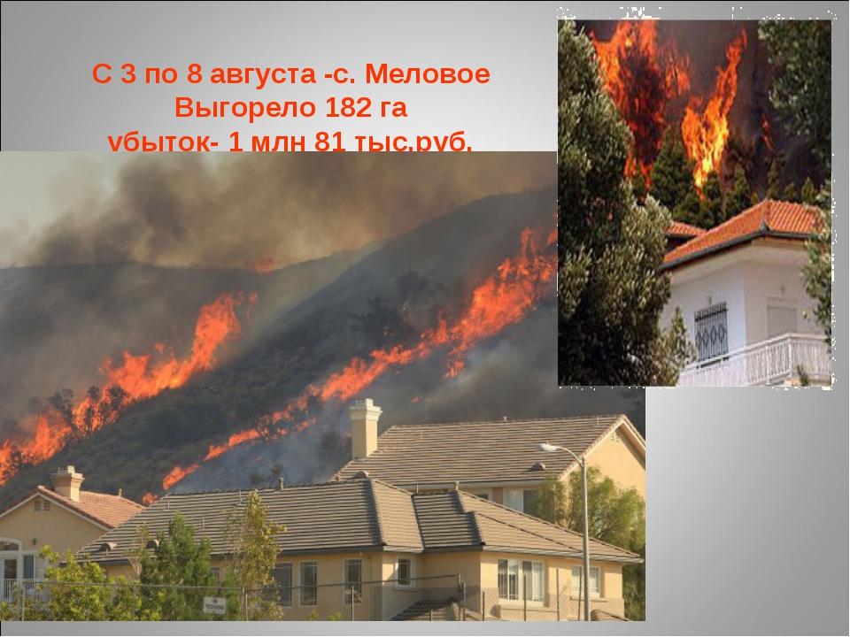 С 3 по 8 августа -с. Меловое Выгорело 182 га убыток- 1 млн 81 тыс.руб.