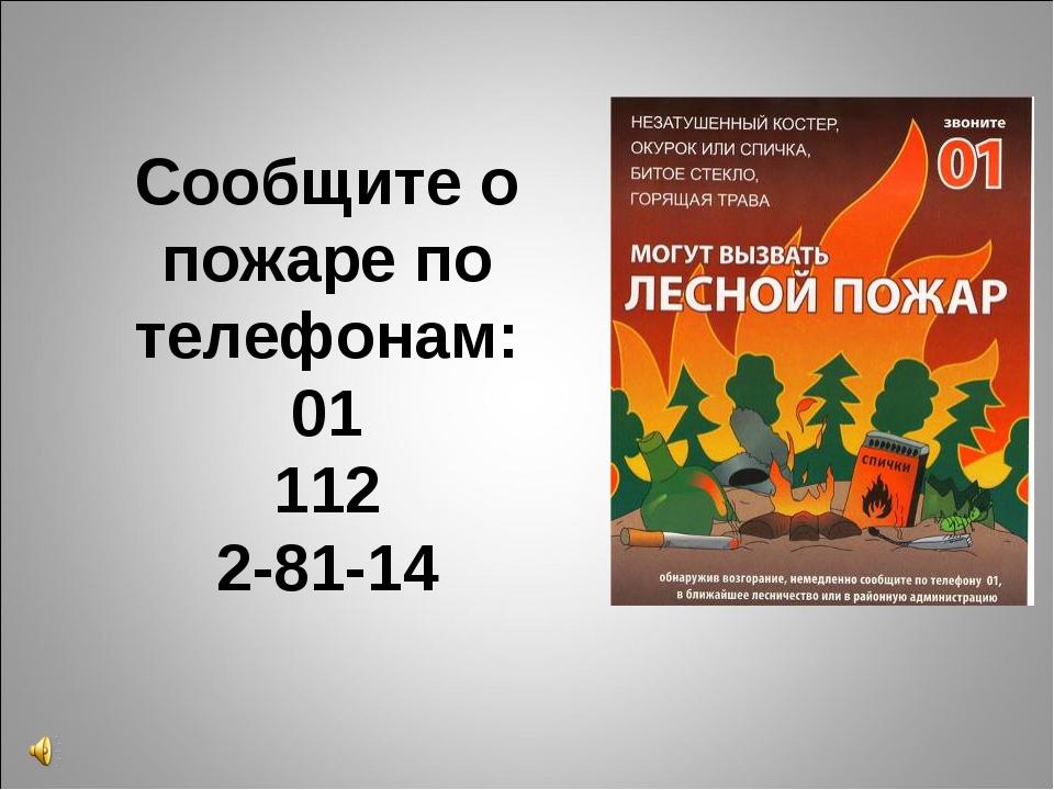 Сообщите о пожаре по телефонам: 01 112 2-81-14