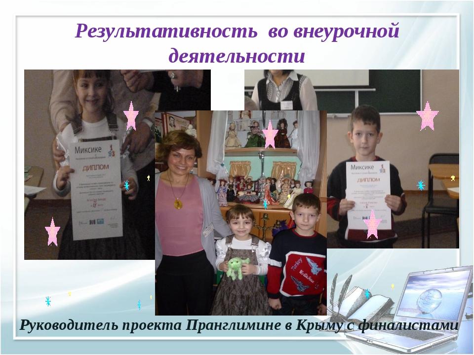 Результативность во внеурочной деятельности Руководитель проекта Пранглимине...