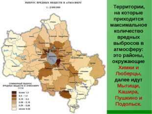 Территории, на которые приходится максимальное количество вредных выбросов в