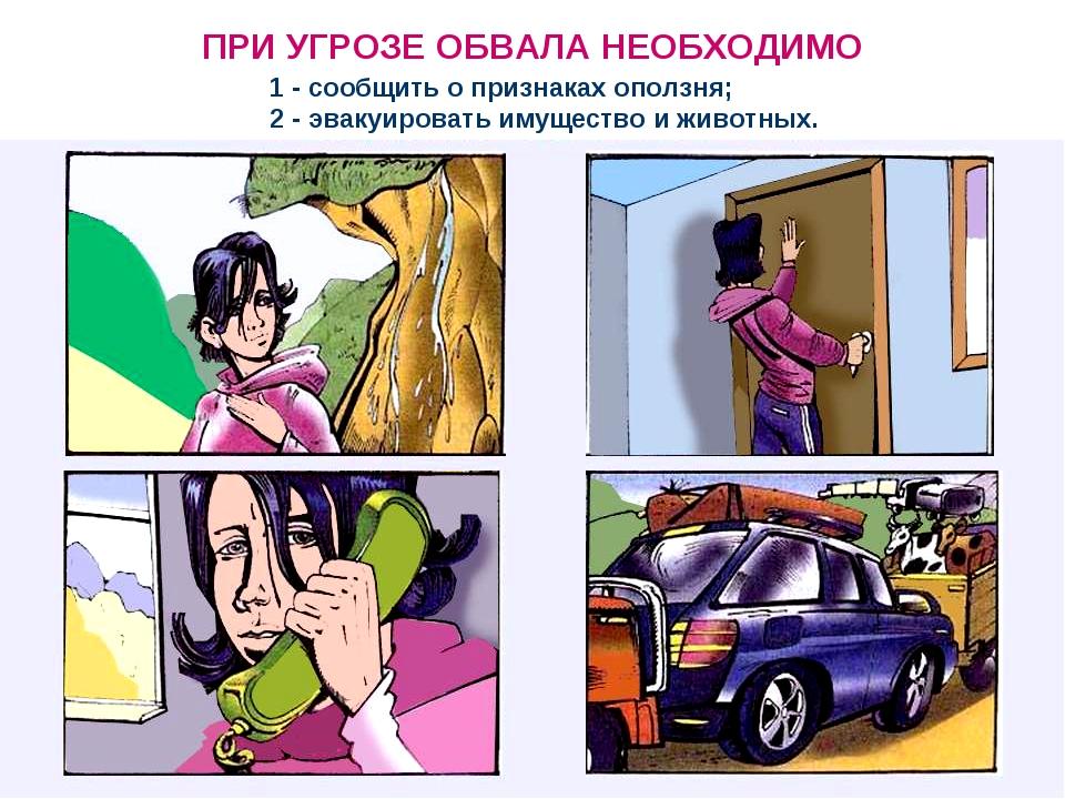 ПРИ УГРОЗЕ ОБВАЛА НЕОБХОДИМО 1 - сообщить о признаках оползня; 2 - эвакуирова...
