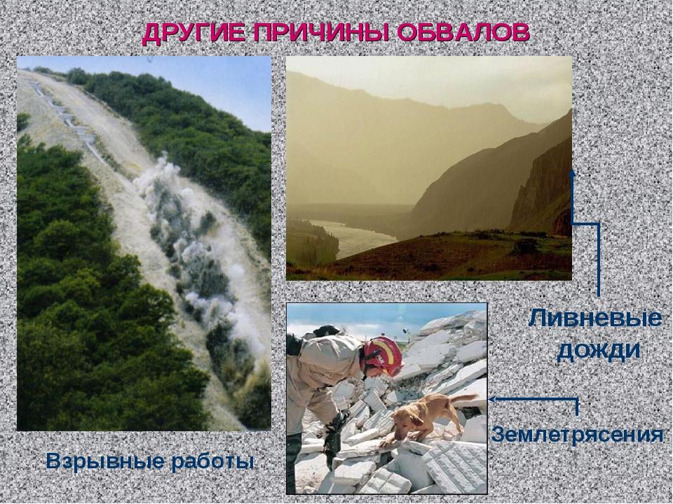 ДРУГИЕ ПРИЧИНЫ ОБВАЛОВ Взрывные работы Ливневые дожди Землетрясения