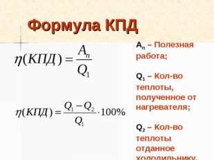 Формула КПД Ап – Полезная работа; Q1 – Кол-во теплоты, полученное от нагреват