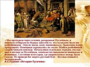 « Мы проходили через селения, разоренные Пугачёвым, и поневоле отбирали из бе