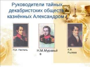Руководители тайных декабристских обществ, казнённых Александром I П.И. Песте