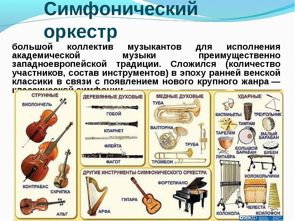 Симфонический оркестр большой коллектив музыкантов для исполнения академическ...