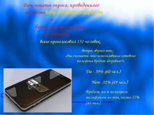 Результаты опроса, проведенного на сайте http://softart.ru/phone о безопаснос