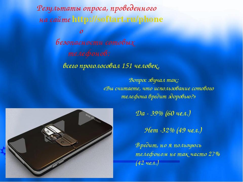 Результаты опроса, проведенного на сайте http://softart.ru/phone о безопаснос...