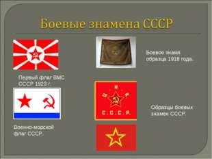 Военно-морской флаг СССР. Первый флаг ВМС СССР 1923 г. Боевое знамя образца 1