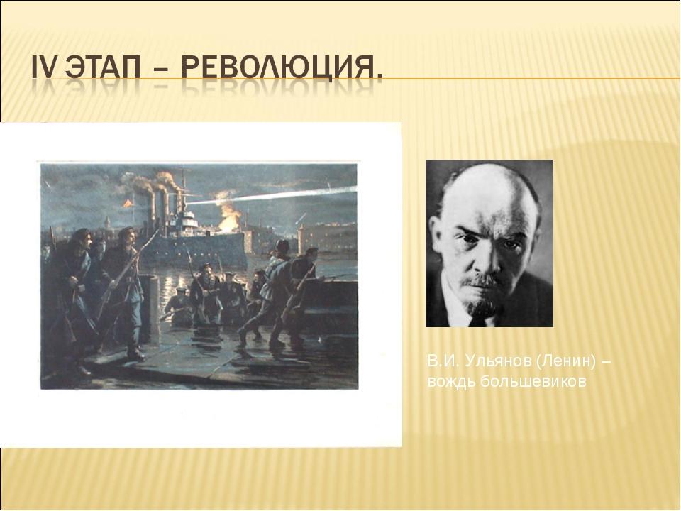Залп «Авроры» – сигнал к восстанию В.И. Ульянов (Ленин) – вождь большевиков