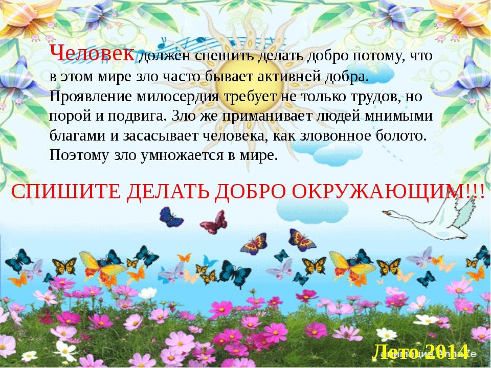 Человек должен спешить делать добро потому, что в этом мире зло часто бывает...