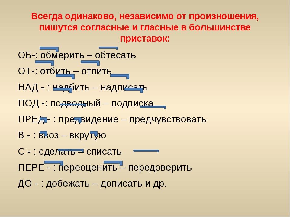 Всегда одинаково, независимо от произношения, пишутся согласные и гласные в б...
