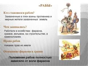 «РАБЫ» Кто становился рабом? Чем занимались? Права рабов Отношение фараона к