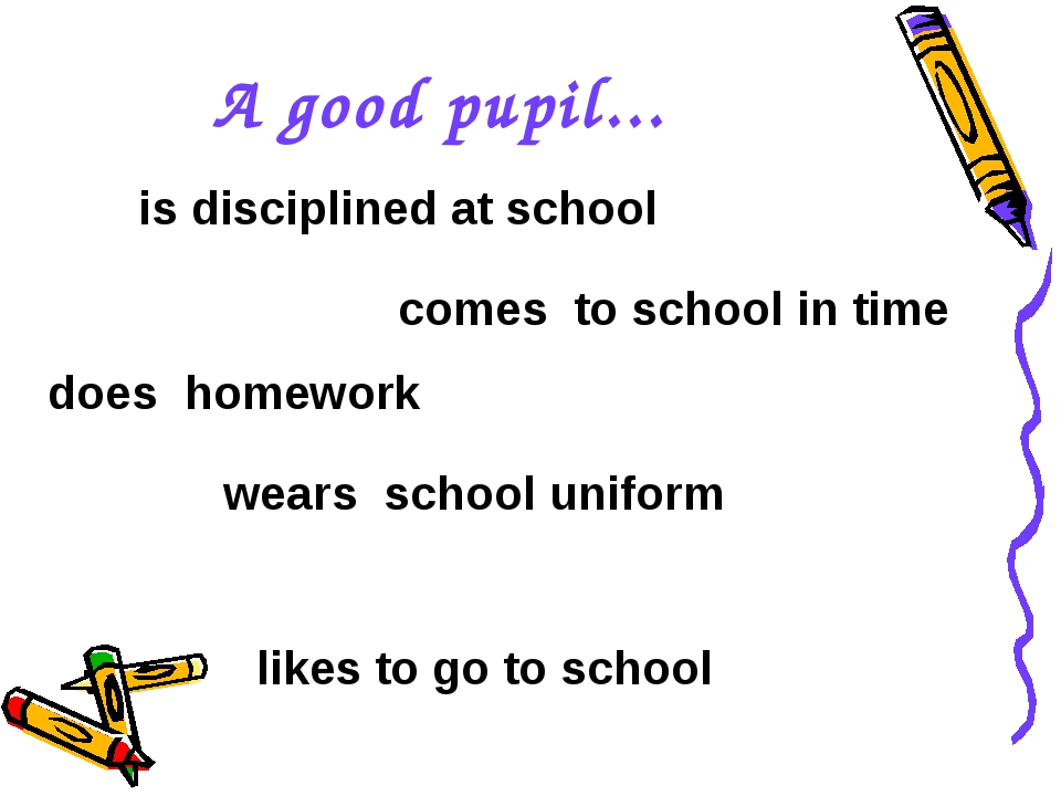 A good pupil... does homework comes to school in time wears school uniform is...