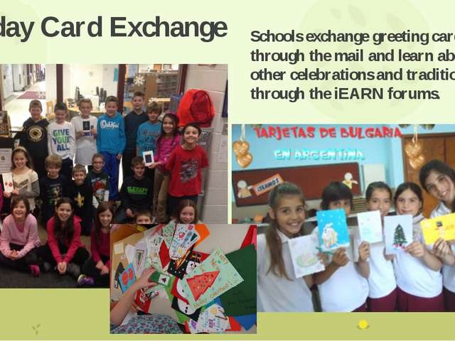 Holiday Card Exchange Schools exchange greeting cards through the mail and le...