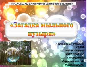 «МОУ ООШ №2 г.Новоузенска Саратовской области» Подготовил: Уталиев Ренат учен