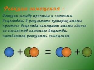Реакции между простым и сложным веществом, в результате которых атомы простог