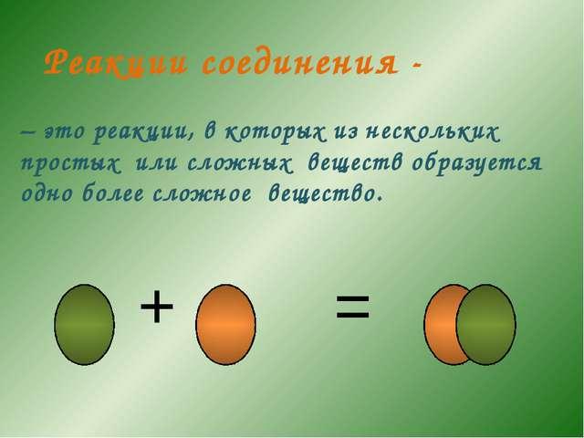 – это реакции, в которых из нескольких простых или сложных веществ образуется...