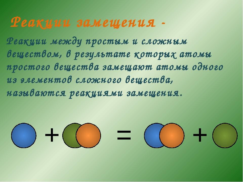 Реакции между простым и сложным веществом, в результате которых атомы простог...