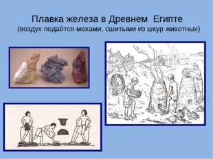 Плавка железа в Древнем Египте (воздух подаётся мехами, сшитыми из шкур живот
