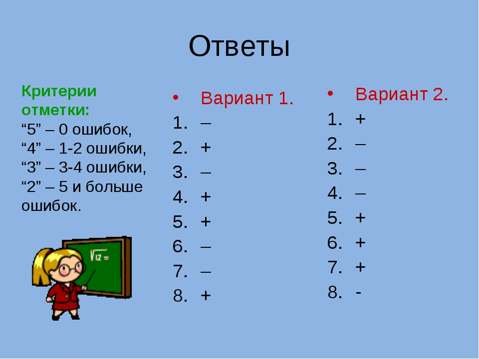 Ответы Вариант 1. – + – + + – – + Вариант 2. + – – – + + + - Критерии отметки...