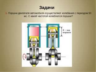Задачи 1. Поршни двигателя автомобиля осуществляют колебания с периодом 50 мс