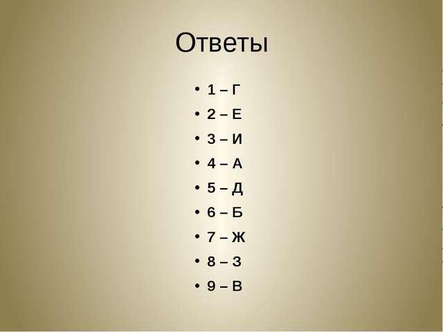 Ответы 1 – Г 2 – Е 3 – И 4 – А 5 – Д 6 – Б 7 – Ж 8 – З 9 – В
