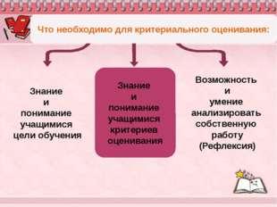 Знание и понимание учащимися критериев оценивания Что необходимо для критери
