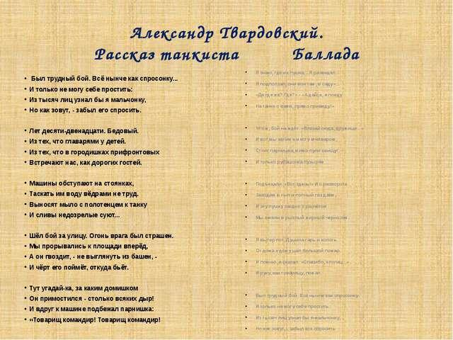 Презентация к уроку по стихотворению атвардовского рассказ танкиста