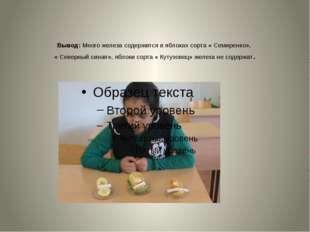 Вывод: Много железа содержится в яблоках сорта « Семиренко», « Северный сина