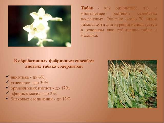 В обработанных фабричным способом листьях табака содержится: никотина - до 6...