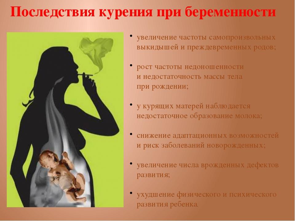Последствия от курения беременным женщинам последствий