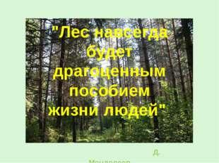 """""""Лес навсегда будет драгоценным пособием жизни людей"""" Д. Менделеев"""